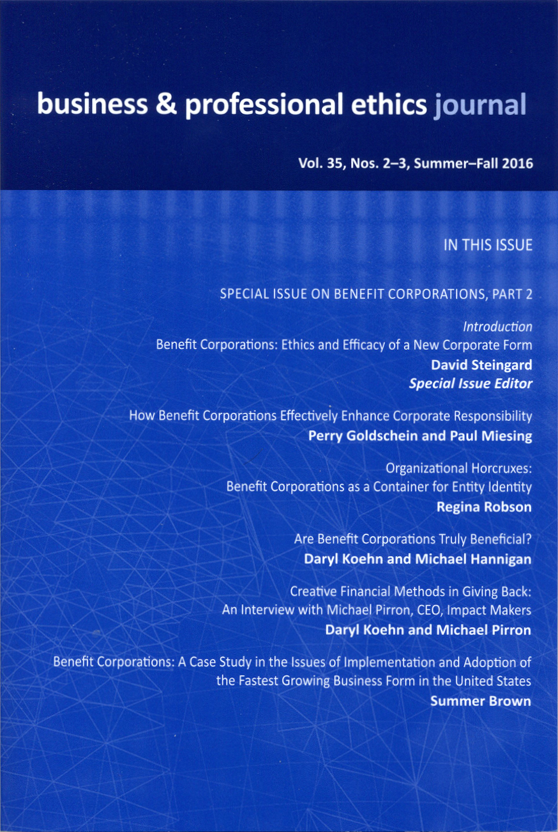 Business and Professional Ethics Journal | Publications