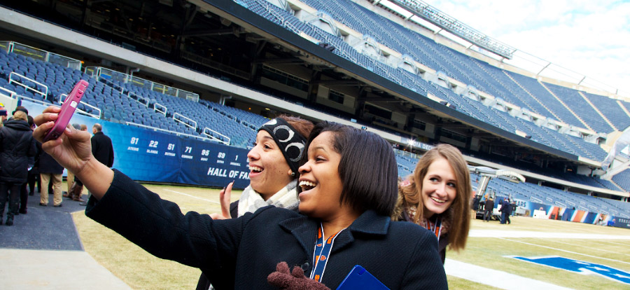 Sports management students during a class trip to Soldier Field