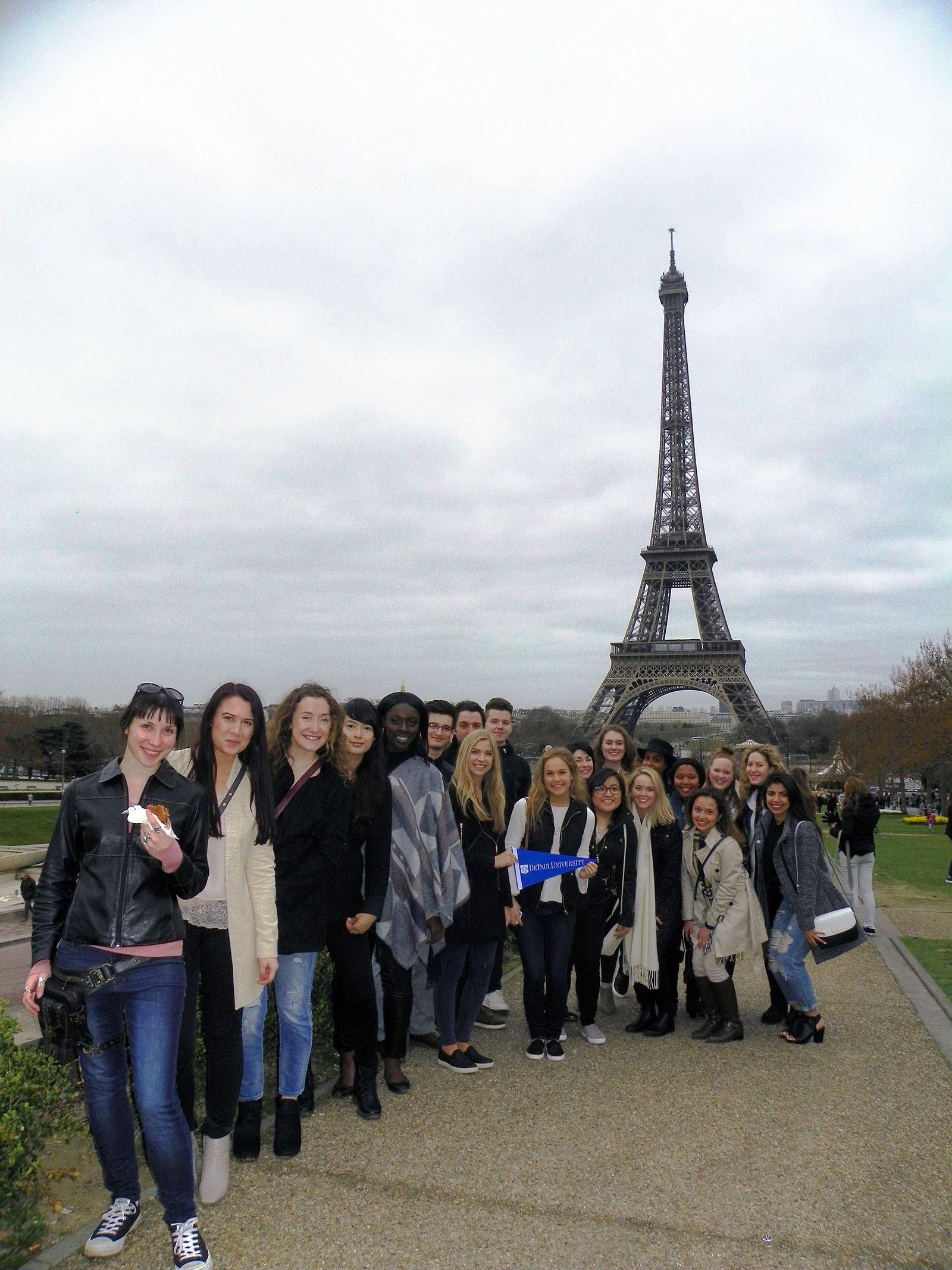 DePaul students visit Eiffel Tower in Paris