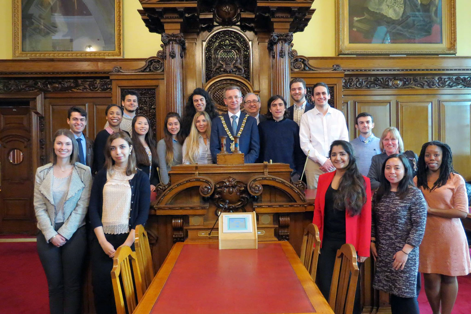 Students have tea with Lord Mayor of Belfast in Northern Ireland