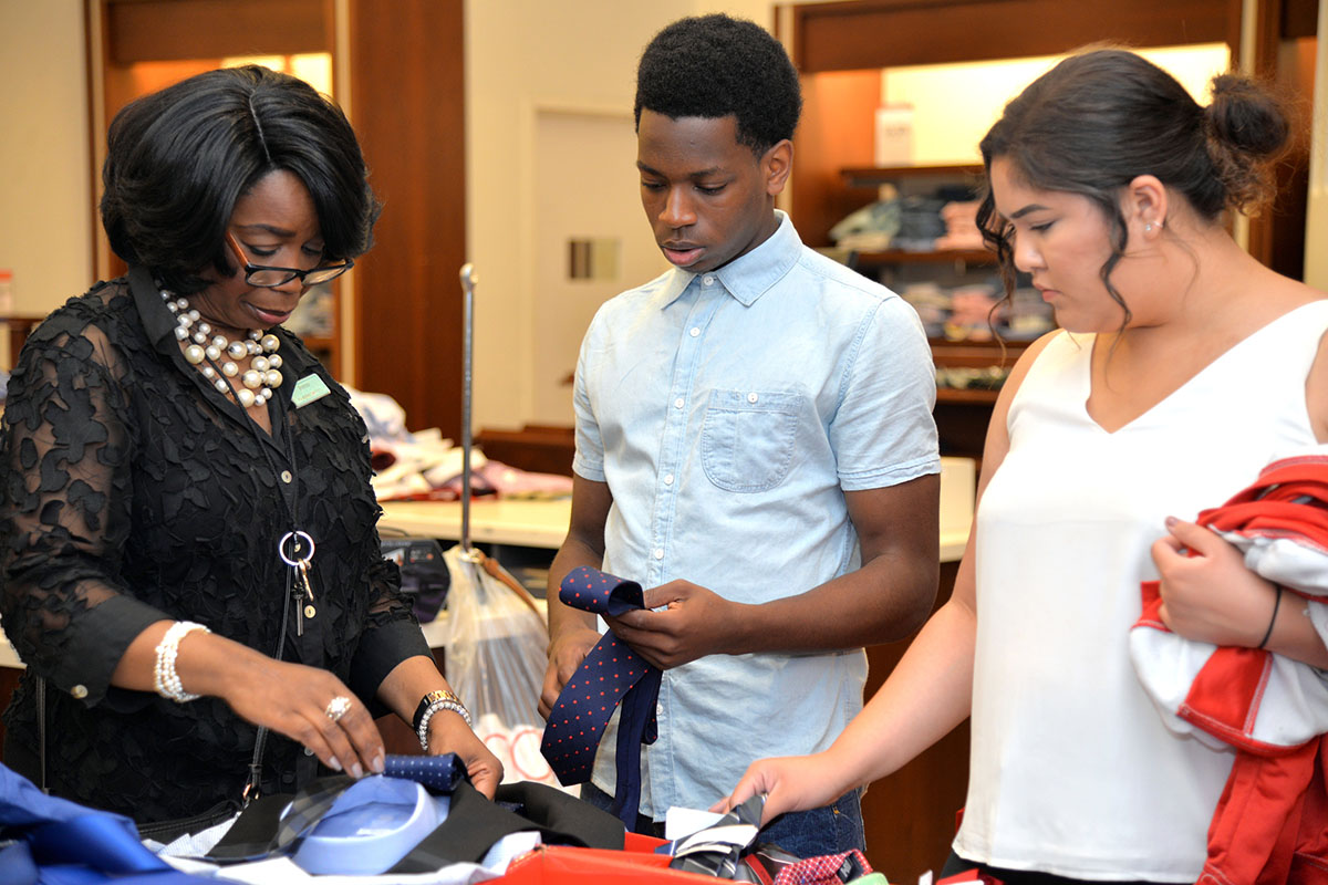 Students received a professional wardrobe courtesy of Macy's.