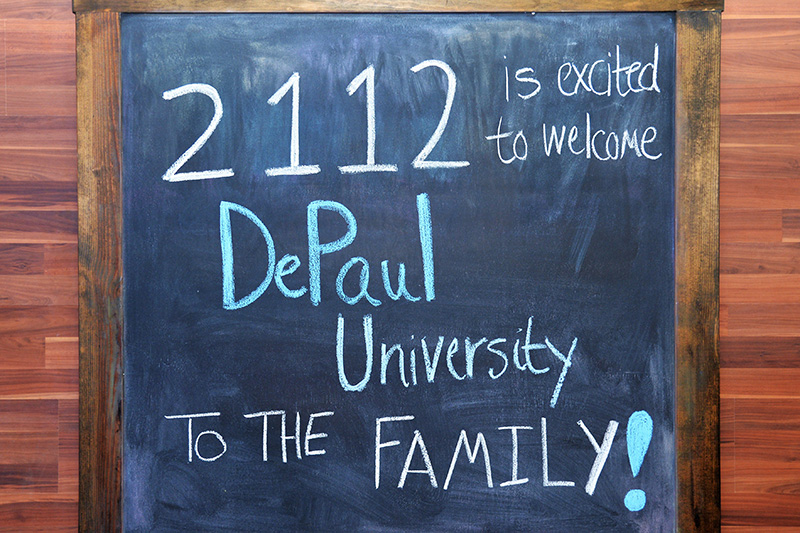 DePaul welcome sign