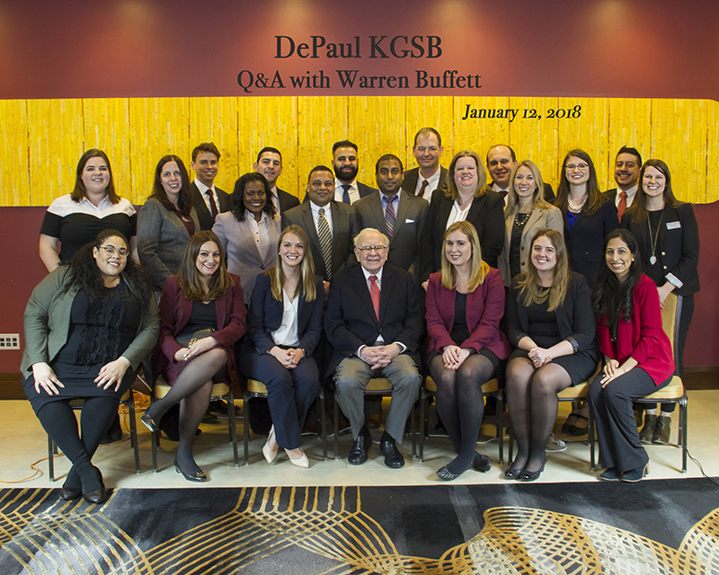 Kellstadt students with Warren Buffet