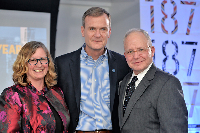 Terry Steinbach (BA '88, MBA '90, MS '99, Phd '08), associate dean for Information Systems and Education at DePaul's College of Computing and Digital Media, won the Entrepreneurial Academic of the Year award. From left to right: Steinbach; Bruce Leech, executive director, Coleman Center; and Michael W. Hennessy, president and CEO of the Coleman Foundation.