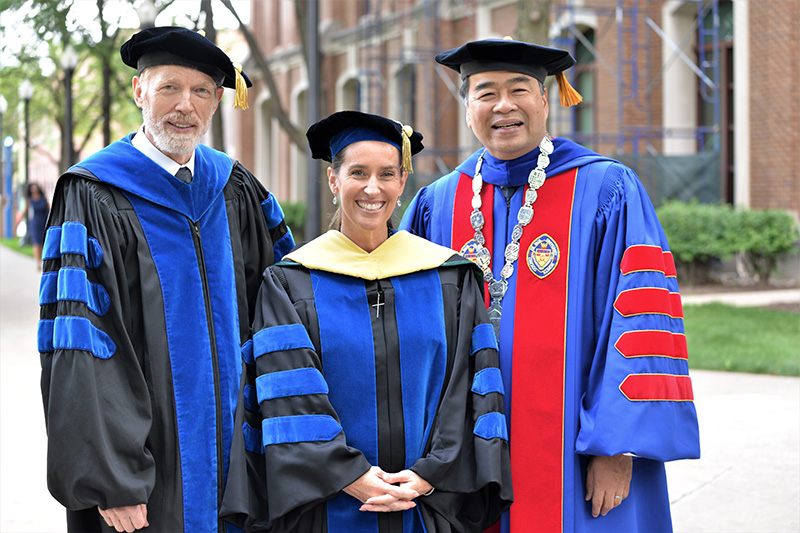 Provost Marten denBoer with Business Dean Misty Johanson and President A. Gabriel Esteban at Convocation 2017.