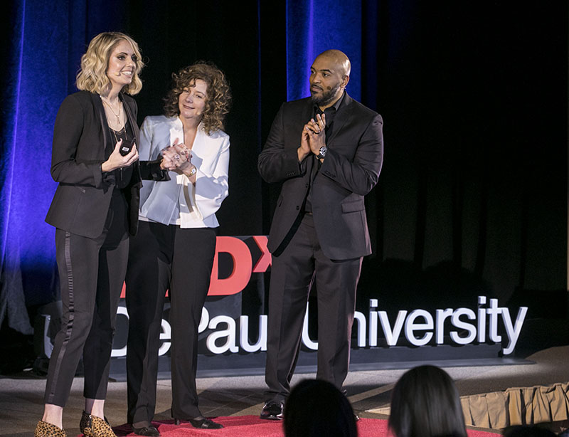 Karen Bartuch, Tammy Higgins and Brandon Hendrix at TED