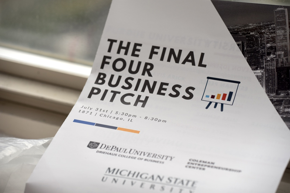 The first DePaul-sponsored Final Four Business Pitch Competition was held at 1871, Chicago's business incubator, July 31.