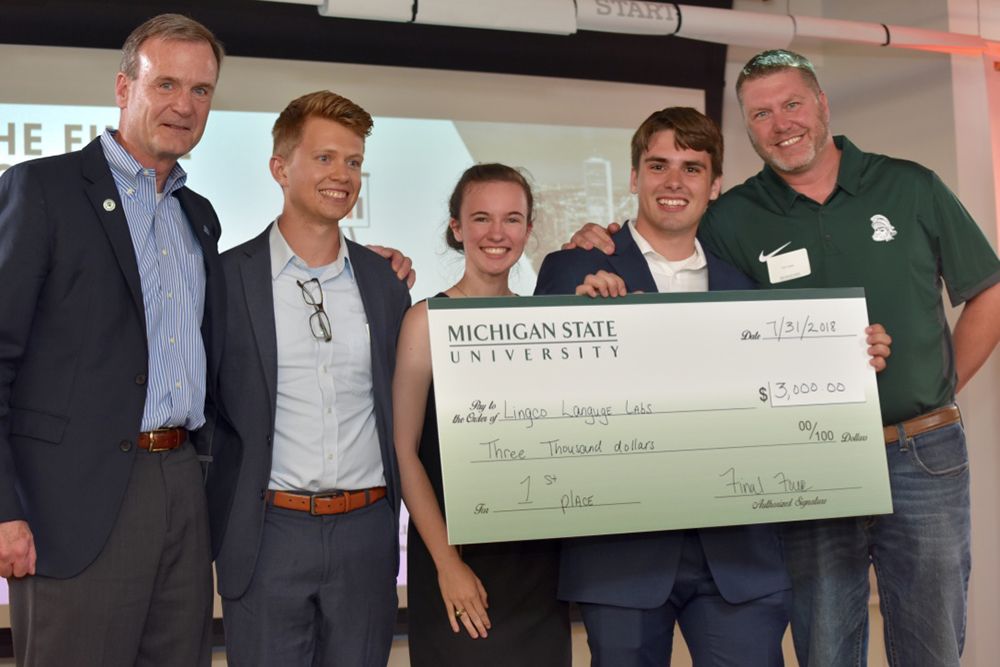 Michigan State students took home top honors in the first Final Four Business Pitch competition, hosted by DePaul. Student Seth Killian pitched Lingco Language Labs pitched a platform to help students learn foreign languages at their own pace.