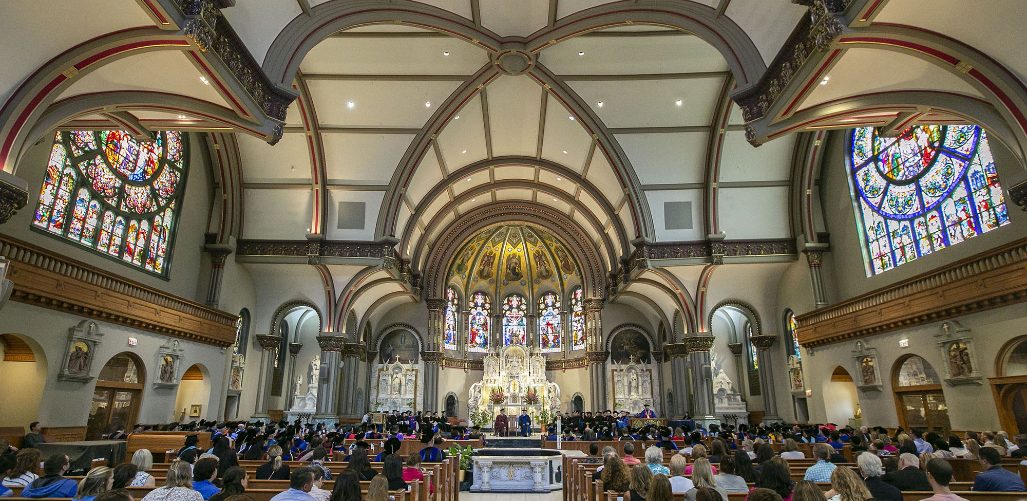 DePaul University faculty and staff mark the beginning of the school year during Academic Convocation at the St. Vincent de Paul Parish Church Thursday, Aug. 30, 2018, on the Lincoln Park campus.
