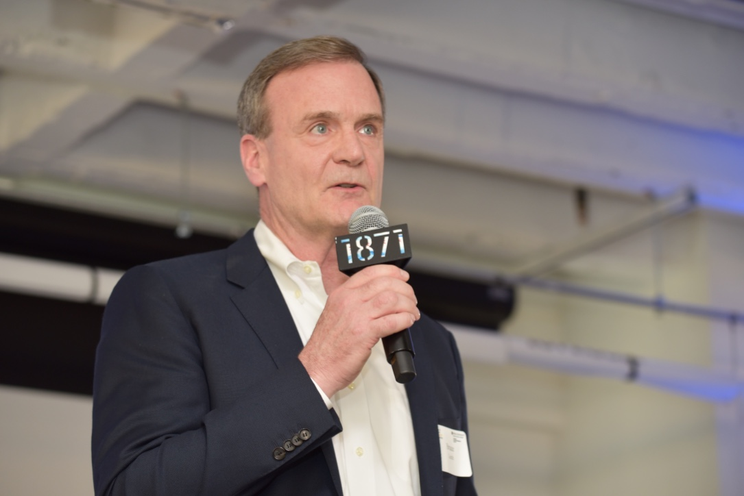 Bruce Leech, executive director of the Coleman Entrepreneurship Center, introduced the participants who pitched their purpose-driven business ventures at the annual Purpose Pitch Competition at 1871 on Tuesday, May 14.