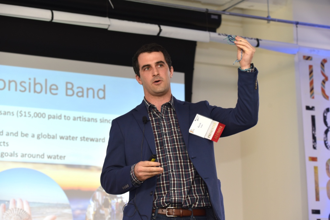 Kevin Sofen (MBA '16) pitched his business venture, Wristponsible, which raises awareness and funds for grassroots water projects by creating a community of action.