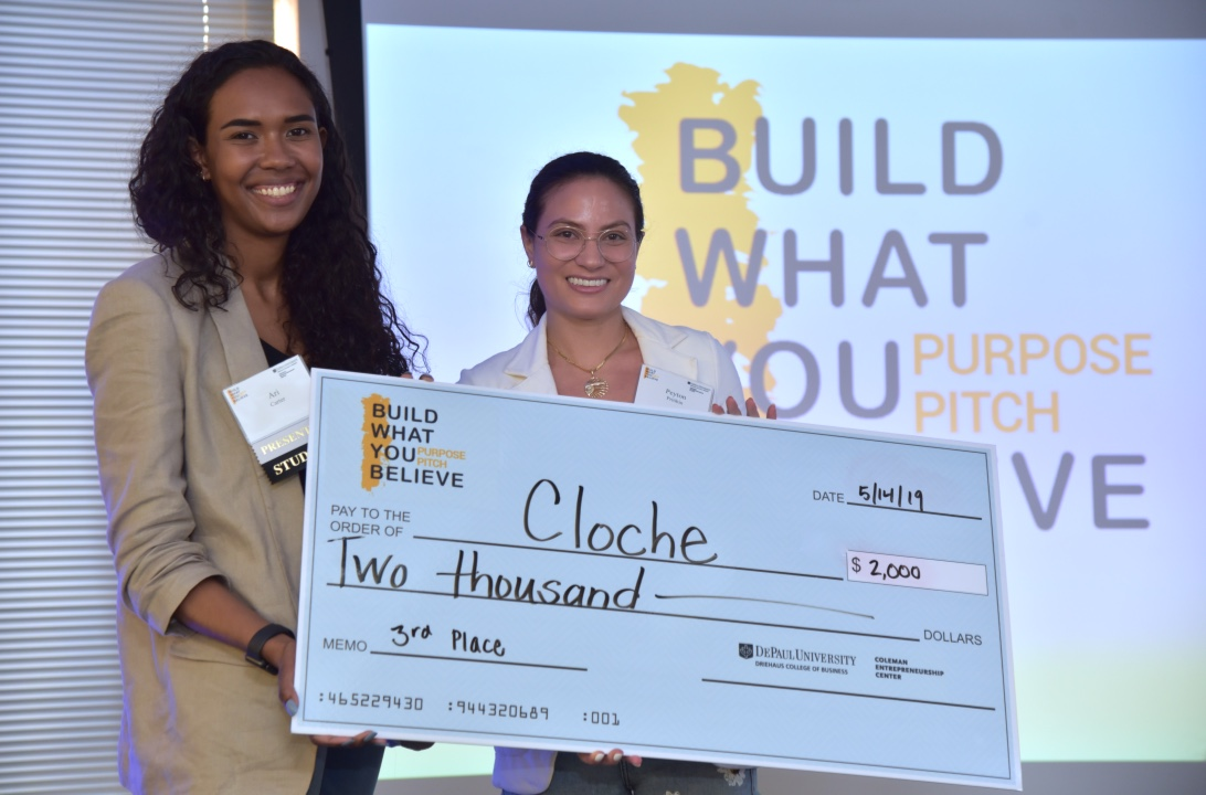 Student participants Ari Carter, a DePaul MBA candidate, and Peyton Pritikin took home third place for their business, Cloche, an online investment platform for millennial women.