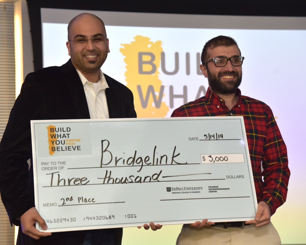 DePaul alumni and PhD candidates Badar Al Lawati (MS '11) and Redar Ismail (MS '15) took home second prize for their business idea, BridgeLink, which mediates the process of fair-employment through a platform designed for refugees and employers.