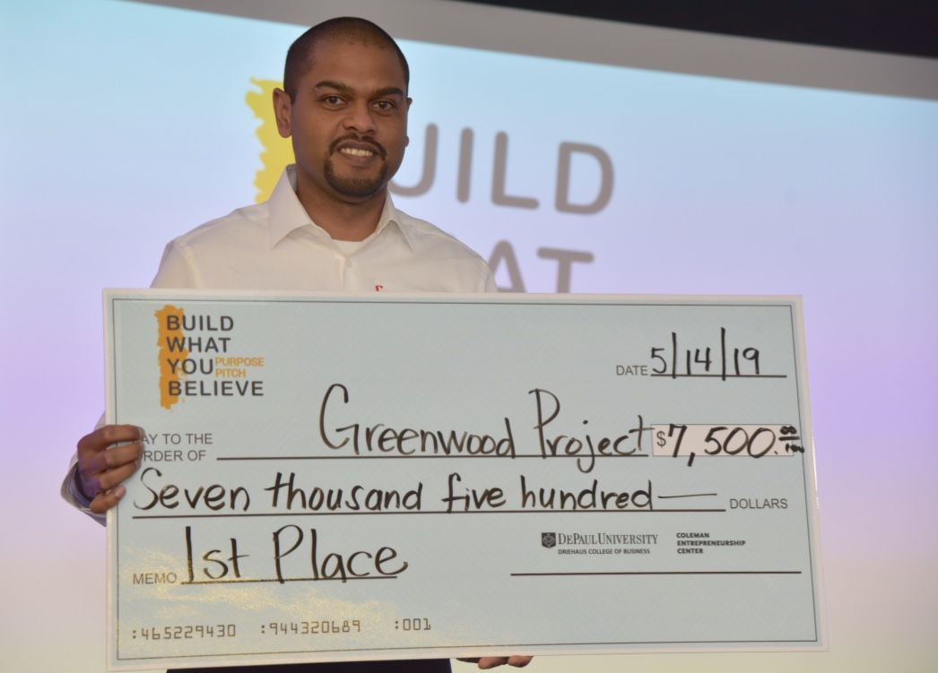 Graduate business student Bevon Joseph took home the first prize for his business The Greenwood Project, a nonprofit that helps academically talented youth from underresourced Chicago communities gain access to the finance and tech industries.