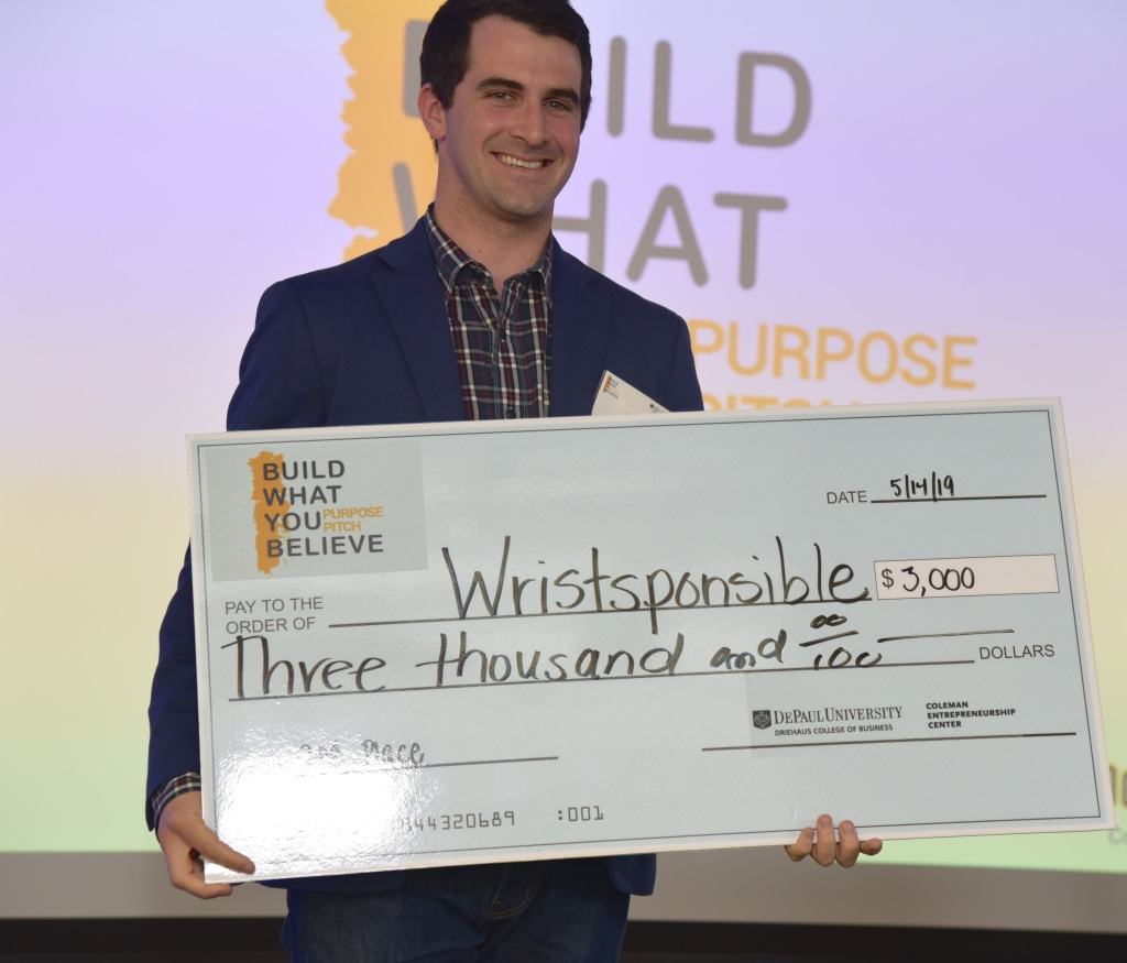 Alumni participant Kevin Sofen (MBA '16) took home second place for his business, Wristponsible, which raises awareness and funds for grassroots water projects by creating a community of action.