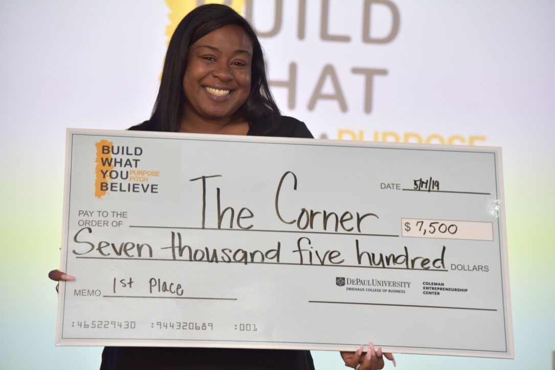 Alumni participant Dianna Harris (MFA '15, MS '18) took home the top prize for her business, The Corner, a small business incubator and collaborative space for Southside Chicagoans.