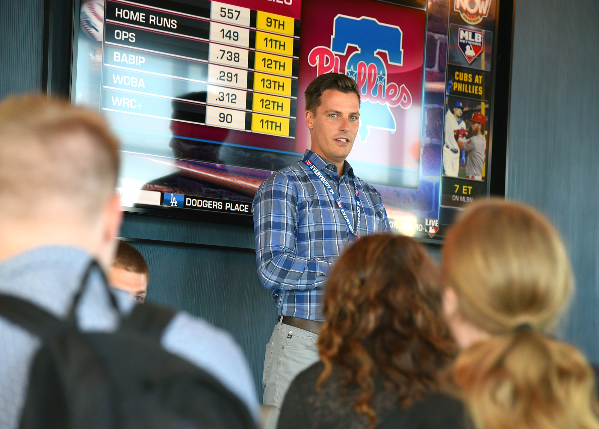 Brad Nagel, assistant director of talent acquisition at Cubs, presents to students